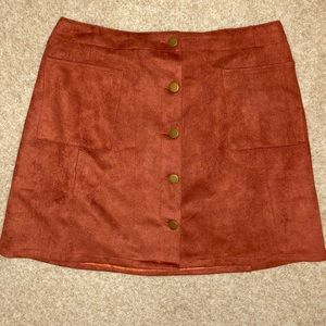 Faux Suede Button J.O.A Mini Skirt